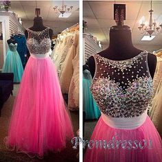 2016 beautiful hot pink chiffon prom dress with sequins top, ball gown, prom dresses for teens #coniefox #2016prom