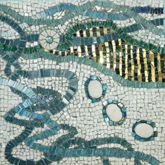 abstract smalti glass mosaics with beads,millefiore, stones,etc