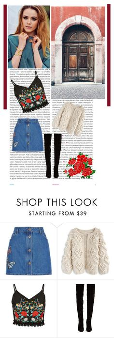 """""""Untitled #344"""" by criiss-prdd on Polyvore featuring Oris, Valentino, Chicwish, Christian Louboutin, red, skirt, roses and article"""