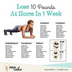 Lose 10 Pounds in One Week: A 7 Day Diet and Workout Action Plan – Stick&Ladle de entrenamiento de fitness zuhause Fitness Workout For Women, Fitness Workouts, Fitness Motivation, Fitness Hacks, Fitness Quotes, Squats Fitness, Fitness Couples, Motivation Quotes, Teen Fitness