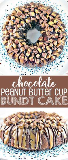 Chocolate Peanut Butter Cup Bundt Cake: dense chocolate cake covered in peanut butter and milk chocolate ganache, topped with chopped Reese's peanut butter cups. Mix by hand in two bowls for an easy, impressive dessert. Bunsen Burner Bakery via Milk Chocolate Ganache, Chocolate Peanut Butter Cups, Chocolate Peanuts, Chocolate Desserts, Chocolate Cake, Chocolate Covered, Peanut Butter Ganache Recipe, Best Dessert Recipes, Chocolate Peanut Butter