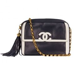 a23c2053a4a62a Chanel Vintage Navy Blue Leather Medium Camera Bag Black And White Bags,  Navy And White