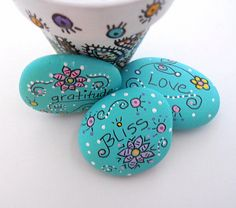 Hand Painted River Stones Painted River Stones by BluSkyeCreations