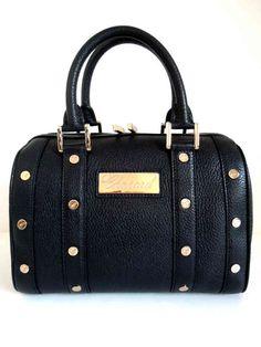 "Chopard Handbag Boston ""Mini"" Black Leather / Red Gold Trim - 95000-0223 - MarteModena"