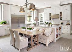 gorgeous white and tan kitchen