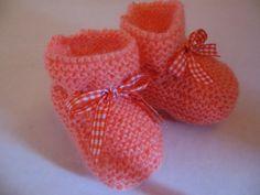 Chaussons bébé coloris orange noeud vichy : Mode Bébé par logique