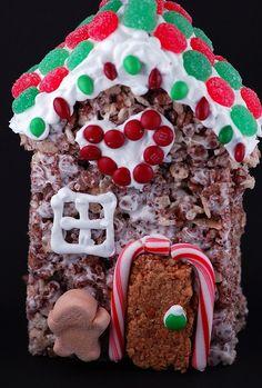 Rice Krispie Treat Gingerbread House