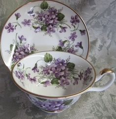 Wild Violet Tea Cup and Saucer - I just love the shape of this cup. Tea is always a little better in a beautiful cup! Cuppa Tea, Tea Gifts, Teapots And Cups, China Tea Cups, Tea Service, Porcelain Ceramics, Tea Cup Saucer, Tea Set, Tea Party