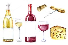 Wine and winery products watercolor by Vikeriya on Creative Market