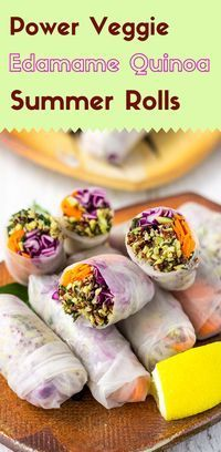 Are you looking for school lunch ideas? You're going to get excited about these edamame quinoa summer rolls with their minty, buttery crunch. (#Vegan #GlutenFree)