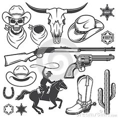 Illustration about Set of wild west cowboy designed elements. Illustration of arizona, saloon, badge - 51445775 Cowboy Theme, Cowboy Art, Cowboy Crafts, Cowboy Hat Tattoo, Cowgirl Tattoos, Saloon Western, Anniversaire Cow-boy, Western Tattoos, Westerns