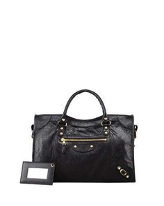 Giant 12 Golden City Bag, Black by Balenciaga at Neiman Marcus. Balenciaga Giant City, Balenciaga Classic City Bag, Handbags On Sale, Black Handbags, Beautiful Handbags, Lafayette 148, Luxury Bags, 5 D, Shoulder Strap
