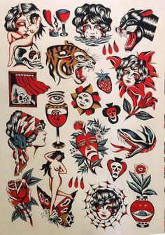 Traditional Tattoo Flash Sheets, Small Traditional Tattoo, Traditional Tattoo Sketches, Traditional Tattoo Flowers, Traditional Flash, Halloween Tattoo Flash, Americana Tattoo, Vintage Tattoo Design, Tattoo Tradicional