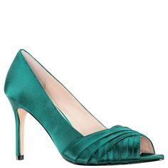 Pleats of lustrous satin on a peep-toe pump make Rhiyana by Nina a sophisticated choice for any special event. Oasis satin fabric Synthetic lining Heel height Almond toe Slip on Imported Turquoise Wedding Shoes, Turquoise Heels, Teal Shoes, Nina Shoes, Satin Shoes, Teal High Heels, Green Heels, Peep Toe Pumps, Stiletto Heels