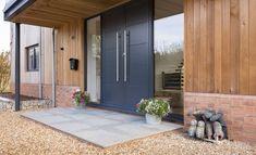 'Grand Designs' inspired Barn Conversion in Hertfordshire Modern Entrance Door, Modern Exterior Doors, Modern Front Door, House Front Door, House Entrance, Entry Doors, Main Door Design, Entrance Design, Front Door Design
