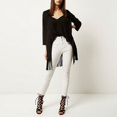 Black faux suede tassel kimono £55 #imwearingri