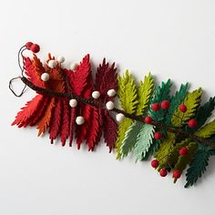 Colorful leaves on this beautiful Christmas garland are dotted with white berries, adding a festive accent to your home.