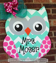 Personalized Chevron Polkadot Owl Door Hanger by SparkledWhimsy, $45.00