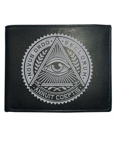 cool NOVUS ORDO SECLORUM- New World Order Evil Eye- Men's Leather Wallet from Fat Cuckoo