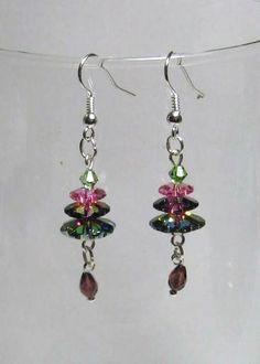 Margarita Crystal Tree Ear Rings - Jewelry creation by Linda Foust