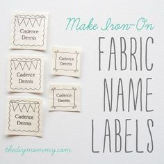 Make Iron-On Fabric Name Labels. Just use your home printer, some fabric & Heat N Bond! Free printable!