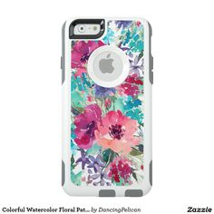 Colorful Watercolor Floral Pattern OtterBox iPhone 6/6s Case - hic and feminine, this floral design features beautiful watercolor blossoms in pinks, purples and blues. Sold at DancingPelican on Zazzle.