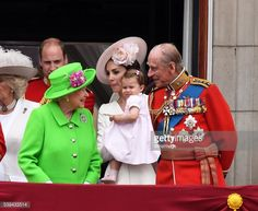 Catherine, Duchess of Cambridge, Princess Charlotte of Cambridge, Queen Elizabeth ll and Prince Philip, Duke of Edinburgh appear on the balcony of Buckingham Palace following the Trooping the Colour...