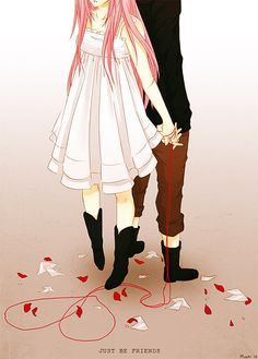 Red String of Fate // Anime Couple Manga Couple, Anime Couples Manga, Manga Anime, Anime Art, Kawaii Cute, Kawaii Girl, Vocaloid, Noragami, Red String Of Fate