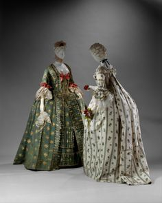 Robes a la francaise 1770-1775. I have two of these, not these exactly but one is green and the other light yellow floral.
