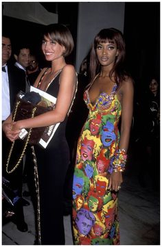 Naomi Campbell With Christy Turlington at the California Fashion Industry Friends of Aids Project Los Angeles Benefit honoring Gianni Versace