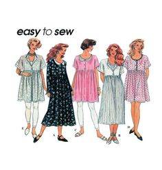 Langen or Babydoll Dress in Two Lengths Simplicity 8871 Loose Fit Empire Empire Gathered Skirt - Broomstick Instructions Sz 6 to 16 UNCUT by FindCraftyPatterns on Etsy