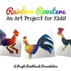 "This lesson presentation demonstrates how to create a ""Rainbow Rooster"" by showing students ways in which simple shapes like circles, triangles, an. Art Lessons For Kids, Art Lessons Elementary, Art For Kids, Animal Art Projects, Fall Art Projects, 3rd Grade Art Lesson, Rooster Art, Phonics Words, Word Sorts"