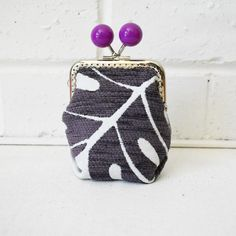 Ultra Violet Purple Monstera Large Wide-base Kisslock Coin Purse Card holder. Upcycled. One of a kind. — JuanitaTortilla
