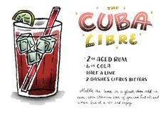 Signature Cocktail Recipe Card: The Cuba Libre by Shauna Lynn Illustration for Oh So Beautiful Paper: http://ohsobeautifulpaper.com/2014/05/friday-happy-hour-cuba-libre/ #cocktail #recipe #osbphappyhour