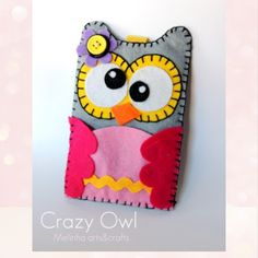 Felt mobile case crazy owl - personalized gift / funda de movil crazy buho…