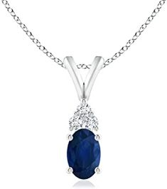 Oval Sapphire Solitaire Pendant with Trio Diamond (6x4mm Blue Sapphire) #necklacependantgold #pendantdiy #pendantjewelry #pendantnecklacediy #pendantnecklacediamond #necklacependantdiamond #pendantwhitegold #pendantnecklace #diyjewelrypendant #beadnecklace #pendant #necklace #jewelrypendants #necklacependantdiy #necklacependantsilver #necklacependantunique #pendantnecklaceunique #simplependantnecklace #diypendantnecklace #diynecklacependant #diamondpendants Diamond Pendant Necklace, Pendant Jewelry, Beaded Necklace, Blue Sapphire, White Gold, Pendants, Stuff To Buy, Beaded Collar, Pearl Necklace