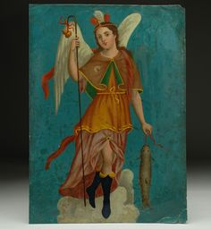 """This warm and richly painted 19th century Mexican folk retablo represents """"San Rafael Archangel,"""" patron saint of eye ailments, black knee sox, catfish and safe journeys. Amen and That's the Spirit!"""