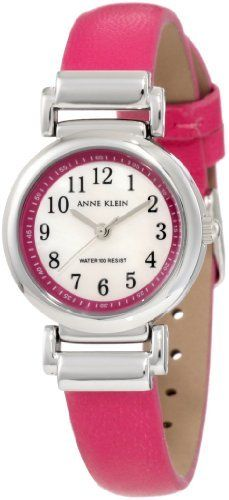 Anne Klein Women's 10/9887MPMA Leather Silver-Tone Easy-To-Read Magenta Leather Strap Watch Anne Klein. $53.84. Black printed easy-to-read arabic numerals at all hour markers. Water resistant up to 100 ft.. Petite 26 mm round case finished in polished silver-tone. White colored genuine mother-of-pearl dial with magenta frame. Smooth, magenta genuine leather strap on silver-tone hinged lugs with stainless steel buckle closure
