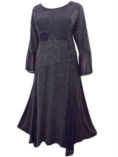 29276e4be66f9 eaonplus BLACK Embroidered Panelled Bell Sleeve Dress Plus size 18 20 to 30  32