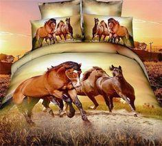 Adult Twill Cotton Running horses men's boys queen bedding sets duvet comforter sets bed in a bag teen bedding down comforter d. 3d Bedding Sets, Bedding Sets Online, Queen Bedding Sets, Comforter Sets, Bedding Decor, Teen Bedding, Queen Size Duvet Covers, Duvet Cover Sets, Bed Covers