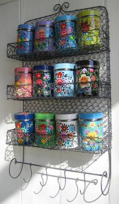 Kashmiri Spice Tins with Rack Set - The Forest & Co. Kashmiri Spice Tins with Rack Set - The Forest & Co. Vintage Tins, Vintage Kitchen, Vintage Market, Handmade Home, Deco Boheme Chic, Pioneer Woman Kitchen, Spice Tins, Spice Racks, Sweet Home