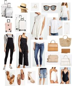 luggage: marble. white. pink. accessories: hat. necklace. ring. sunglasses. handbags: white. nude. camel. straw bag. Tory Burch wallet. shoes: sandals. slides. heels. clothes: overalls. jumpsuit. jeans. white dress. bell sleeve top. lace peplum top. boyfriend shorts. swimsuits: white. black. clothes: handbags and luggage: shoes and accessories: One of my favorite sales of the year, the …