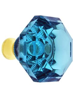 Aqua Lead-Free Octagonal Crystal Knob with Solid Brass Base | House of Antique Hardware