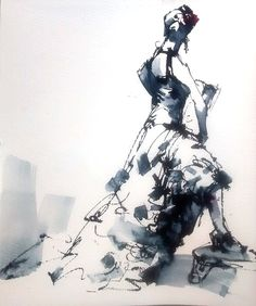 10 mins Flamenco dancer life drawing by pen and ink