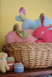 Sewn and Needle Felted Bunnies