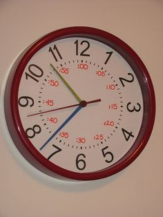The cheap $5 clock I redid to help the kids tell time. by Tina (sk8bettyT), via Flickr
