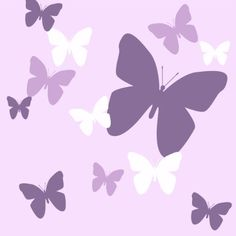 Butterfly Wall Decals- Lavendar, Lilac & White Matte Finish Appliques' For Girls Room Decor