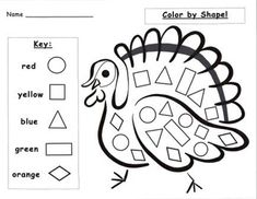 Thanksgiving Worksheets, Thanksgiving Preschool, Thanksgiving Turkey, Preschool Worksheets, Preschool Activities, Shape Activities, Trace Letters And Numbers, Printable Shapes, Picture Templates