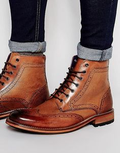Image 1 of Ted Baker Sealls Brogue Boots Mens Shoes Boots, Mens Boots Fashion, Sock Shoes, Leather Shoes, Men's Shoes, Shoe Boots, Dress Shoes, Gentleman Shoes, Retro Mode