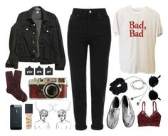 """Dark grunge outfit"" by blackcherrypie1 ❤ liked on Polyvore featuring American Apparel, Topshop, American Eagle Outfitters, NARS Cosmetics, J.Crew, Leica and Ray-Ban"